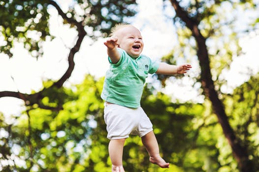 Child jumping freely